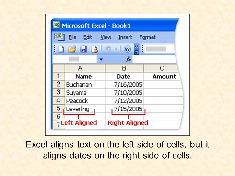 Excel aligns text on the left side of cells, but it aligns dates on the right side of cells.