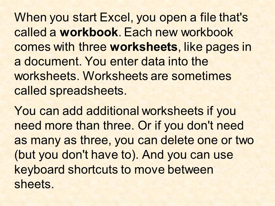 Each worksheet has a name on its sheet tab at the bottom left of the workbook window: Sheet1, Sheet2, and Sheet3.