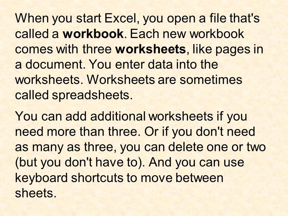 To insert a worksheet: On the Insert menu, click Worksheet.