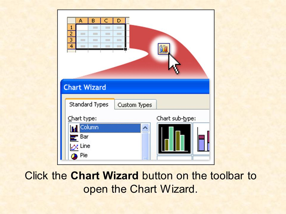 Click the Chart Wizard button on the toolbar to open the Chart Wizard.
