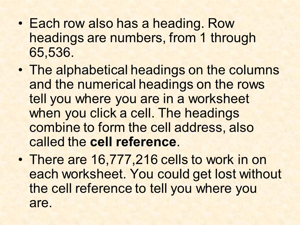Column headings are letters.Row headings are numbers.