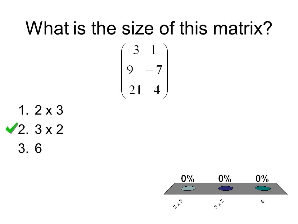 What is the size of this matrix? 1.2 x 3 2.3 x 2 3.6