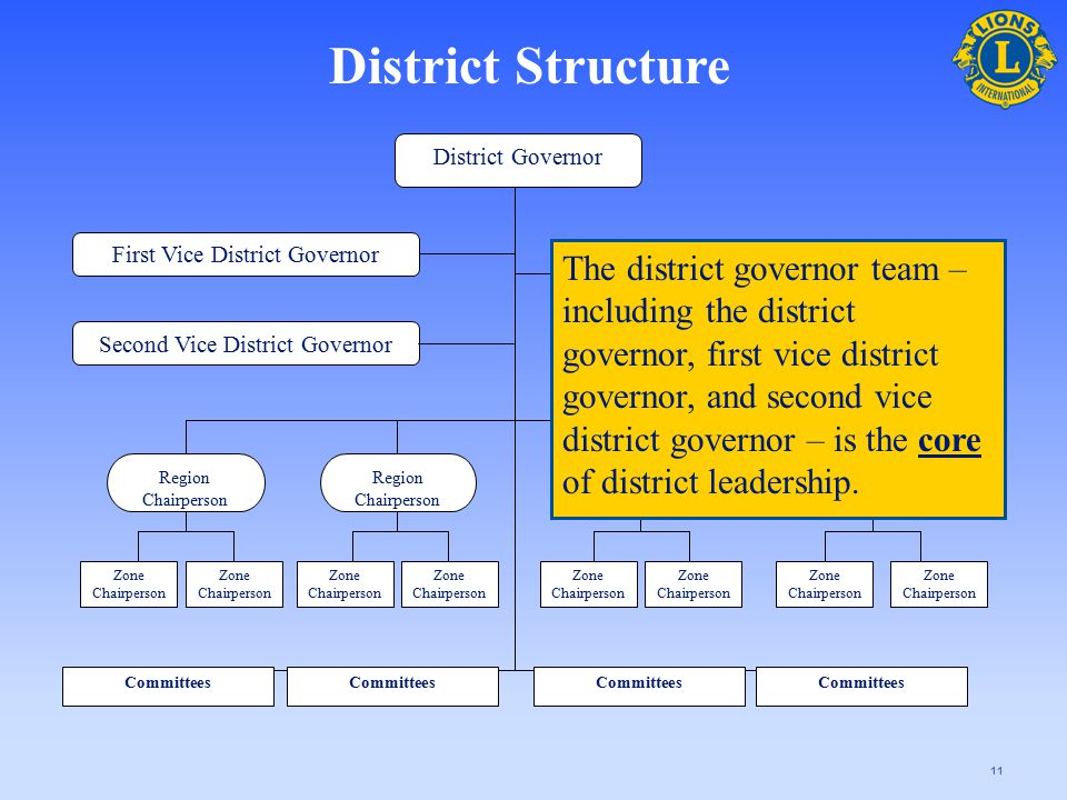 11 District Governor Second Vice District Governor Cabinet Secretary-Treasurer First Vice District Governor Region Chairperson Zone Chairperson Commit