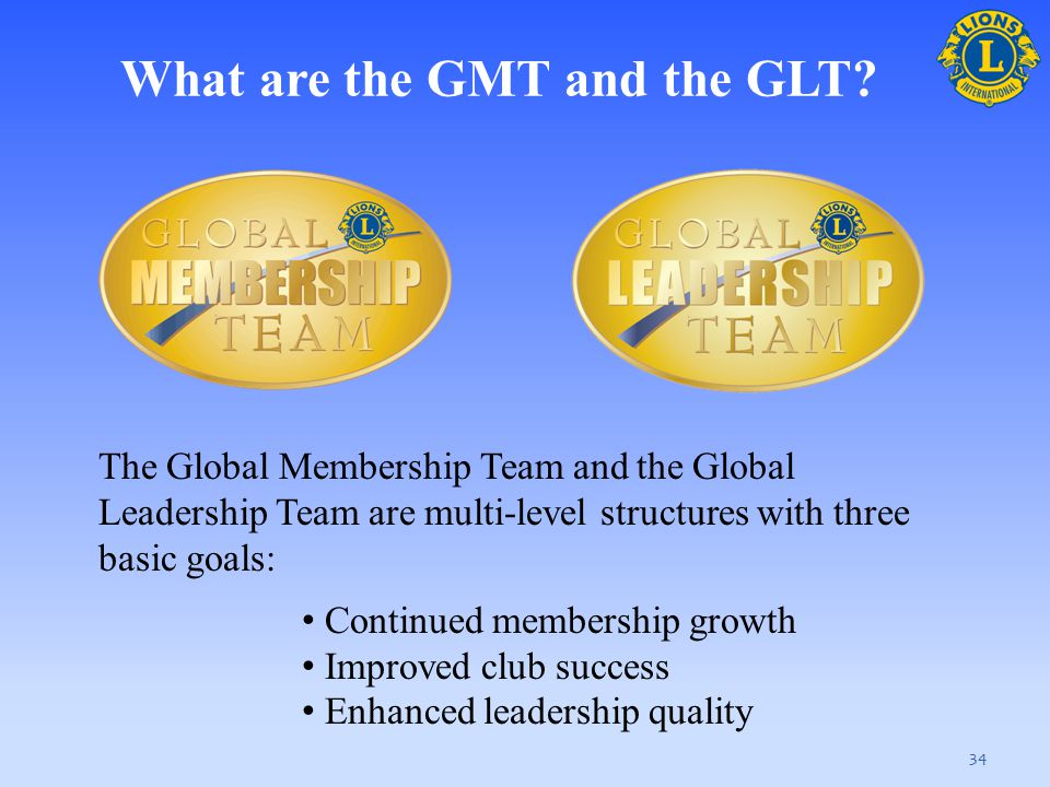 What are the GMT and the GLT? 34 The Global Membership Team and the Global Leadership Team are multi-level structures with three basic goals: Continue