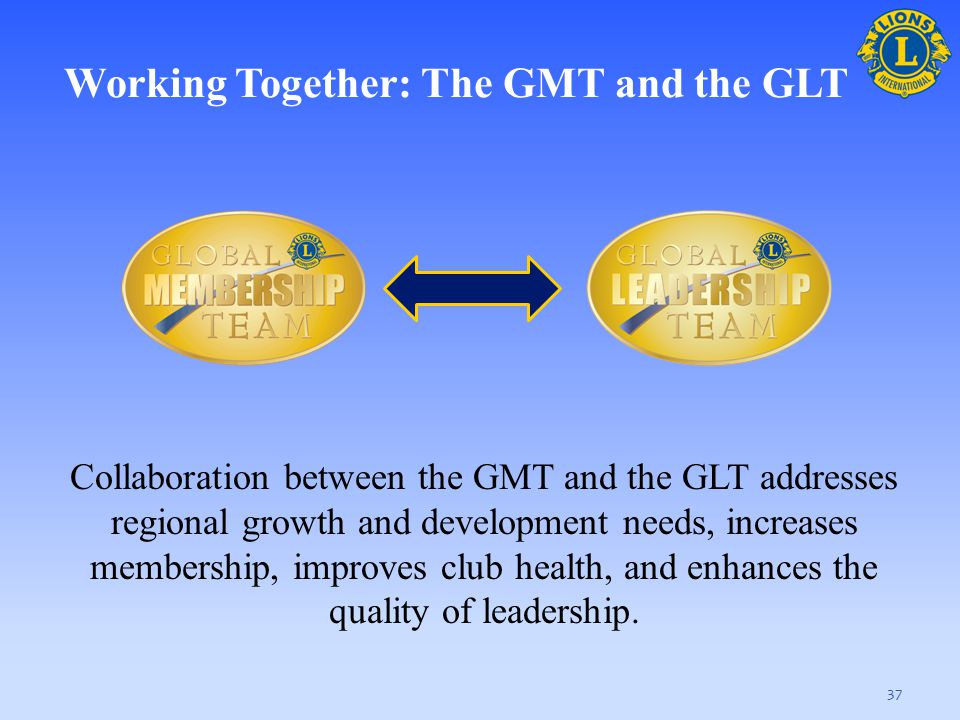 37 Collaboration between the GMT and the GLT addresses regional growth and development needs, increases membership, improves club health, and enhances