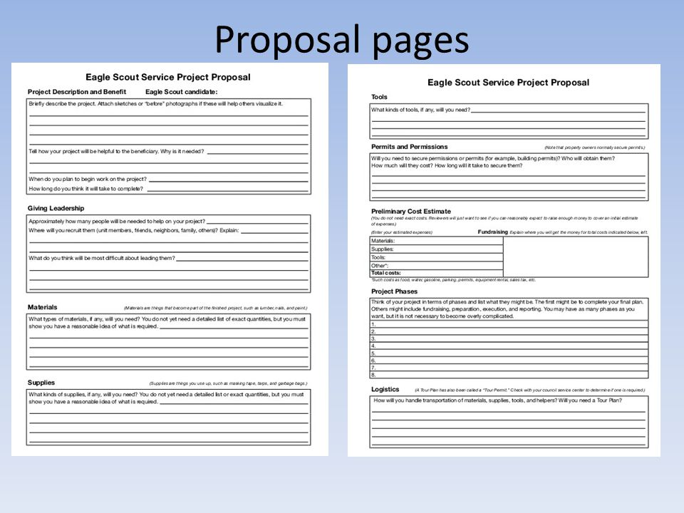 Proposal pages