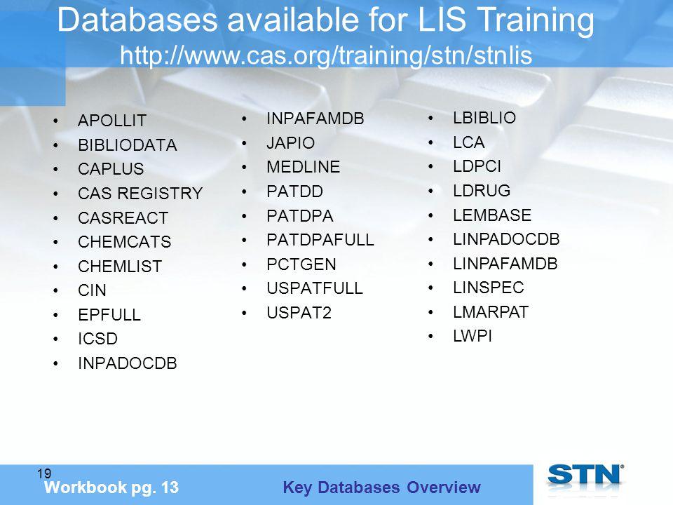 19 Databases available for LIS Training http://www.cas.org/training/stn/stnlis Workbook pg.