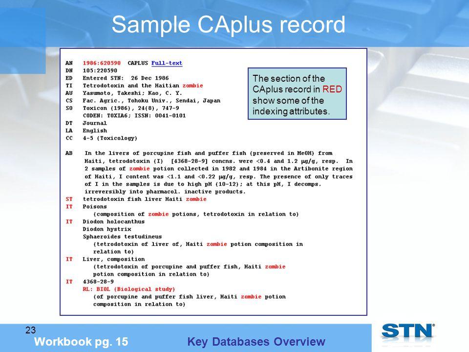 23 Sample CAplus record Workbook pg.
