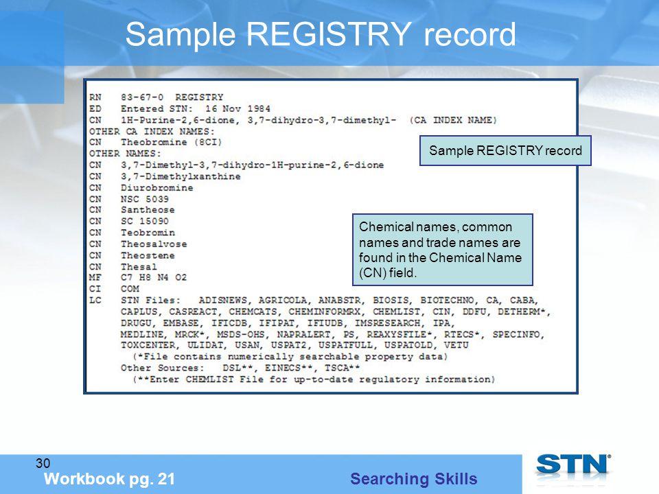 30 Sample REGISTRY record Workbook pg.