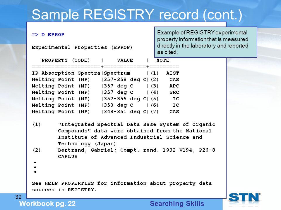32 Sample REGISTRY record (cont.) Workbook pg.