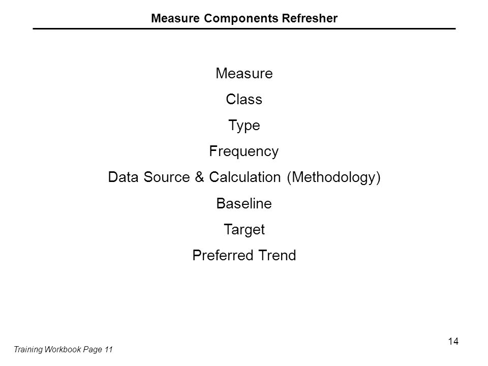 14 Measure Components Refresher Measure Class Type Frequency Data Source & Calculation (Methodology) Baseline Target Preferred Trend Training Workbook Page 11