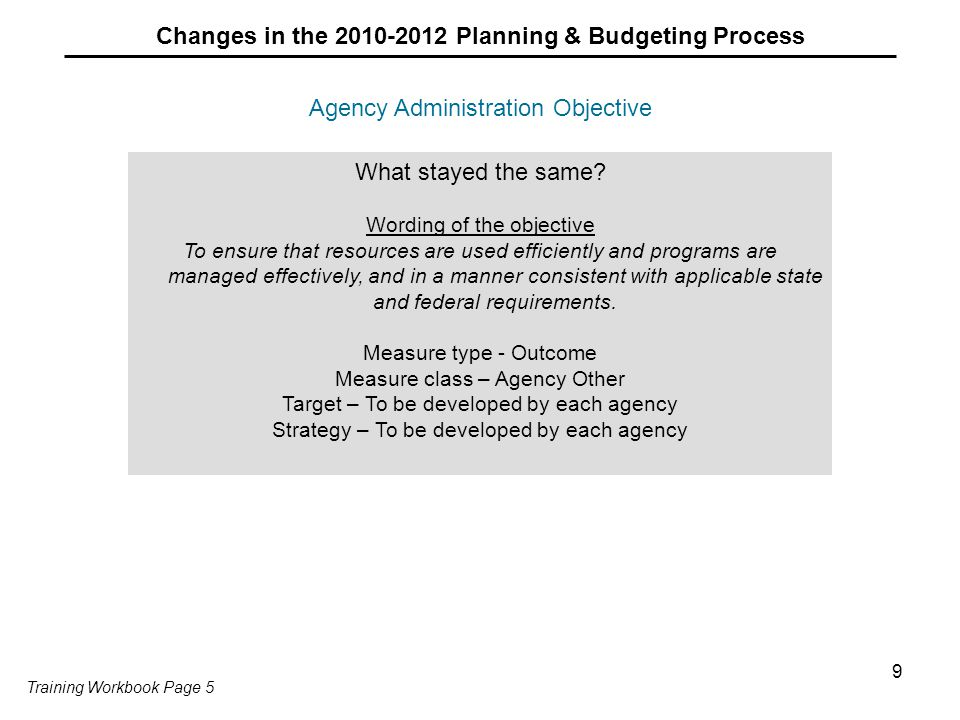 9 Agency Administration Objective Changes in the 2010-2012 Planning & Budgeting Process What stayed the same? Wording of the objective To ensure that