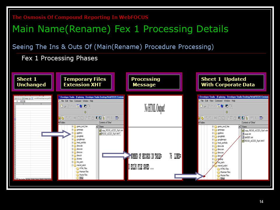 14 Fex 1 Processing Phases The Osmosis Of Compound Reporting In WebFOCUS Main Name(Rename) Fex 1 Processing Details Seeing The Ins & Outs Of (Main(Rename) Procedure Processing) Sheet 1 Unchanged Temporary Files Extension XHT Processing Message Sheet 1 Updated With Corporate Data