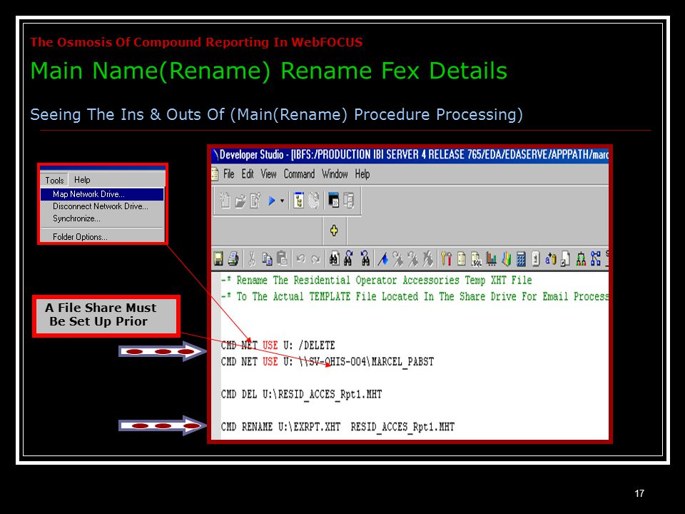 17 A File Share Must Be Set Up Prior The Osmosis Of Compound Reporting In WebFOCUS Main Name(Rename) Rename Fex Details Seeing The Ins & Outs Of (Main(Rename) Procedure Processing)