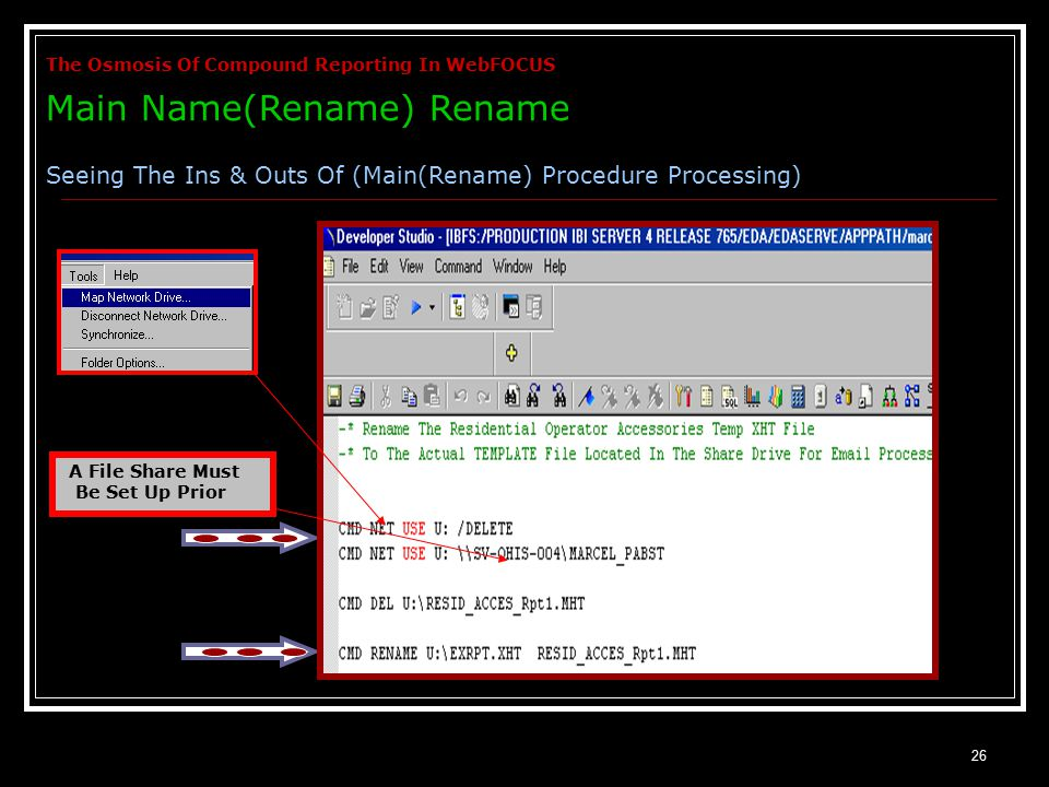 26 A File Share Must Be Set Up Prior The Osmosis Of Compound Reporting In WebFOCUS Main Name(Rename) Rename Seeing The Ins & Outs Of (Main(Rename) Procedure Processing)