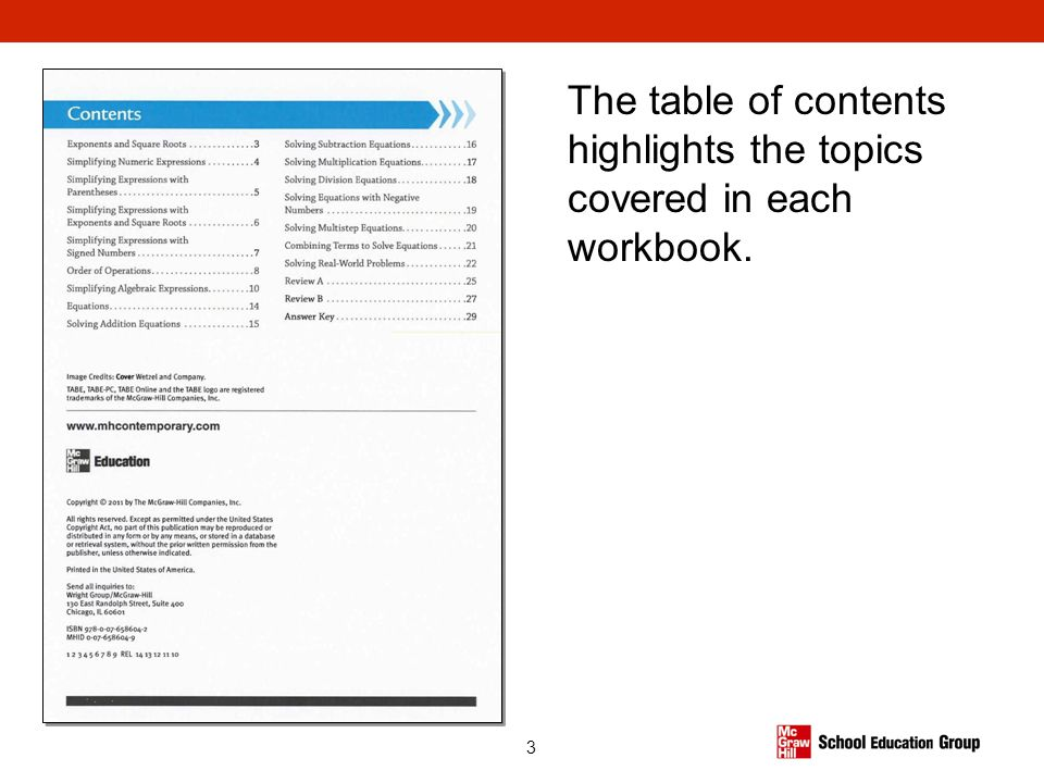3 The table of contents highlights the topics covered in each workbook.