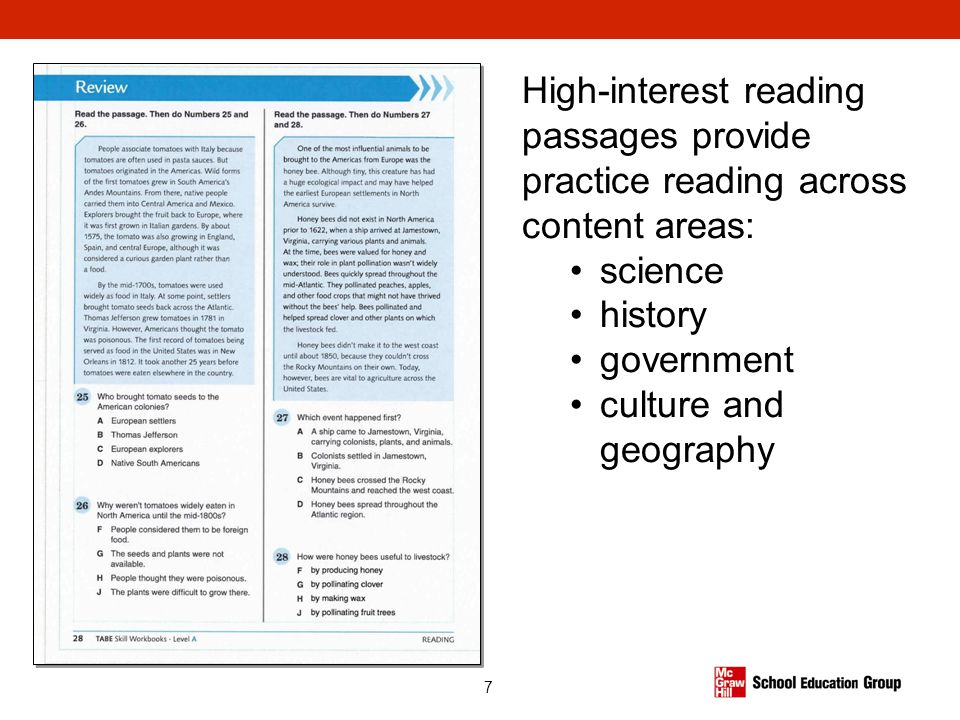 7 High-interest reading passages provide practice reading across content areas: science history government culture and geography