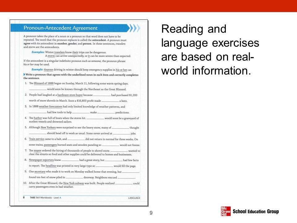 9 Reading and language exercises are based on real- world information.