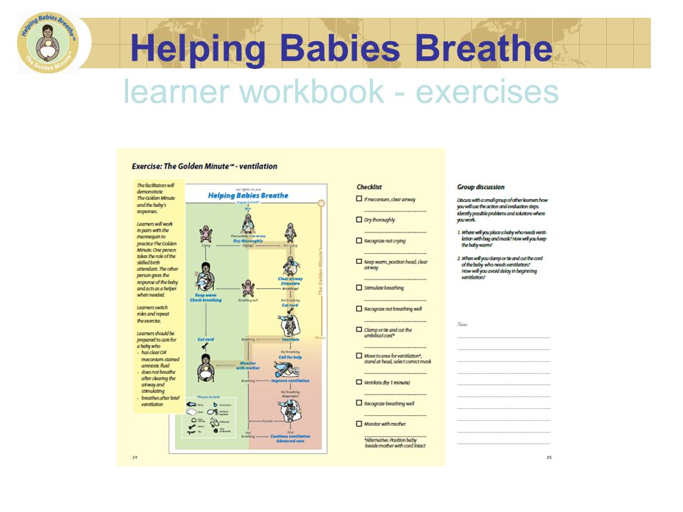 Helping Babies Breathe learner workbook - exercises