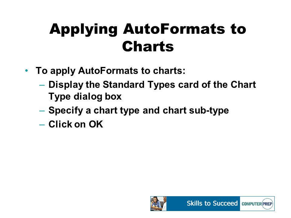 Creating Custom Chart Formats You can format a chart, save the format as a custom chart type, then apply it to other charts You can create a new chart format or modify a built-in chart format Modify chart formats using the Format dialog box for various chart elements Save the custom chart format using the Custom Types card of the Chart Type dialog box