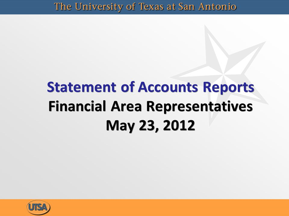 Statement of Accounts Reports Financial Area Representatives May 23, 2012