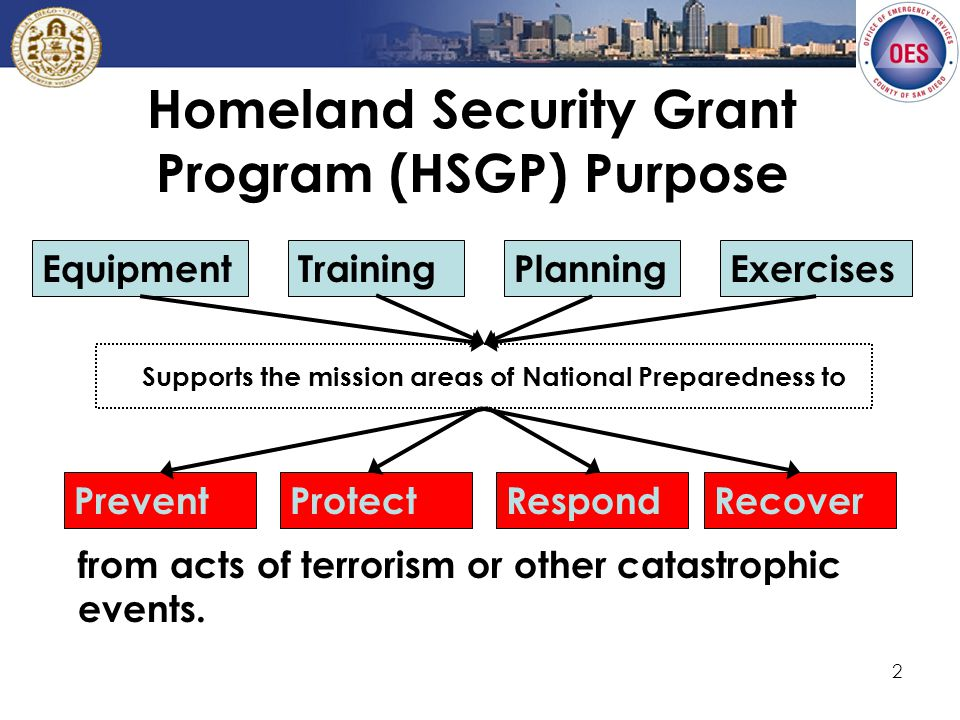 2 Homeland Security Grant Program (HSGP) Purpose from acts of terrorism or other catastrophic events.
