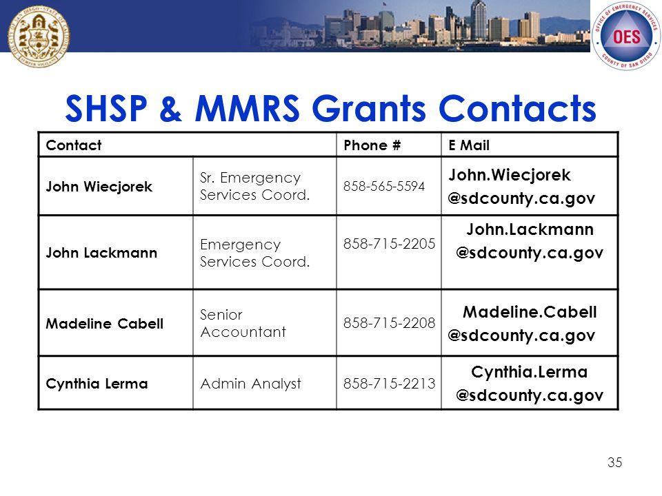 35 SHSP & MMRS Grants Contacts ContactPhone #E Mail John Wiecjorek Sr.