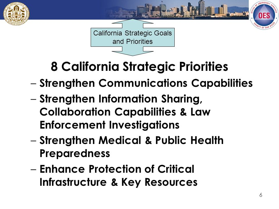 6 8 California Strategic Priorities – Strengthen Communications Capabilities – Strengthen Information Sharing, Collaboration Capabilities & Law Enforcement Investigations – Strengthen Medical & Public Health Preparedness – Enhance Protection of Critical Infrastructure & Key Resources California Strategic Goals and Priorities