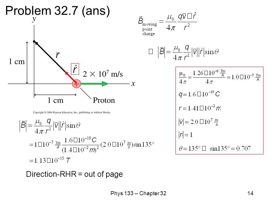 Phys 133 -- Chapter 3214 Problem 32.7 (ans) Direction-RHR = out of page