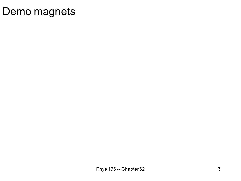 Phys 133 -- Chapter 324 Orients a compass Magnetism: experiments 1