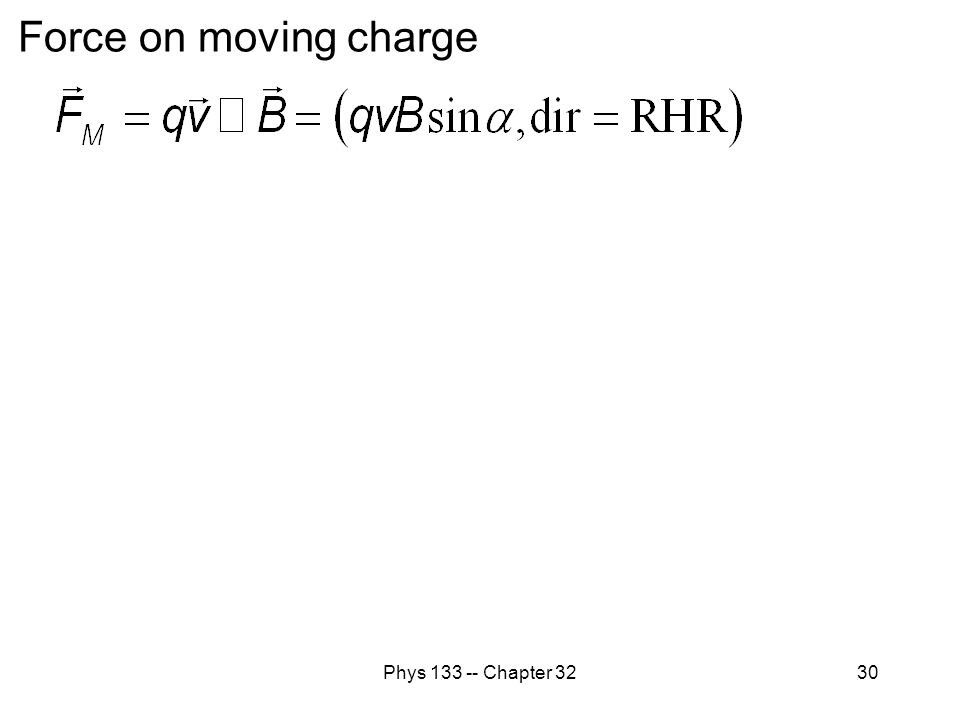 Phys 133 -- Chapter 3230 Force on moving charge