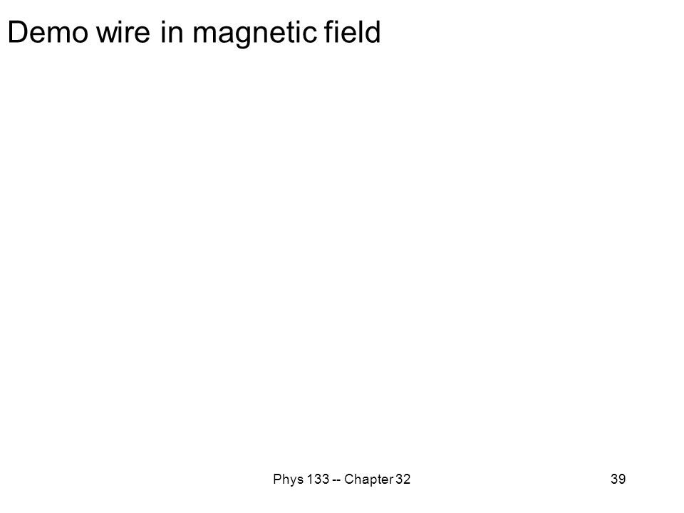 Phys 133 -- Chapter 3239 Demo wire in magnetic field