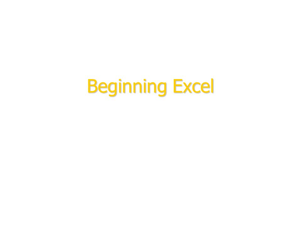 Beginning Excel To insert your company logo on this slide From the Insert Menu Select Picture Locate your logo file Click OK To resize the logo Click anywhere inside the logo.