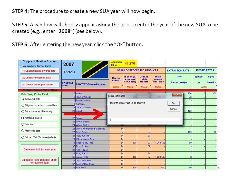 19 STEP 4: The procedure to create a new SUA year will now begin.