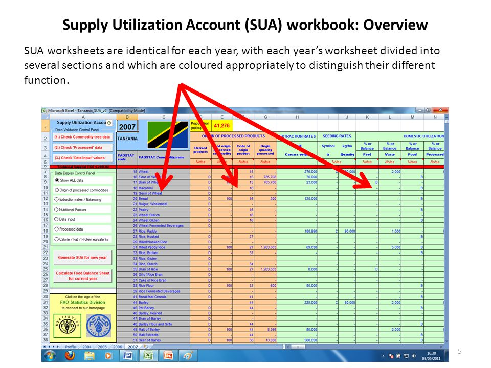 Supply Utilization Account (SUA) workbook: Overview SUA worksheets are identical for each year, with each year's worksheet divided into several sections and which are coloured appropriately to distinguish their different function.