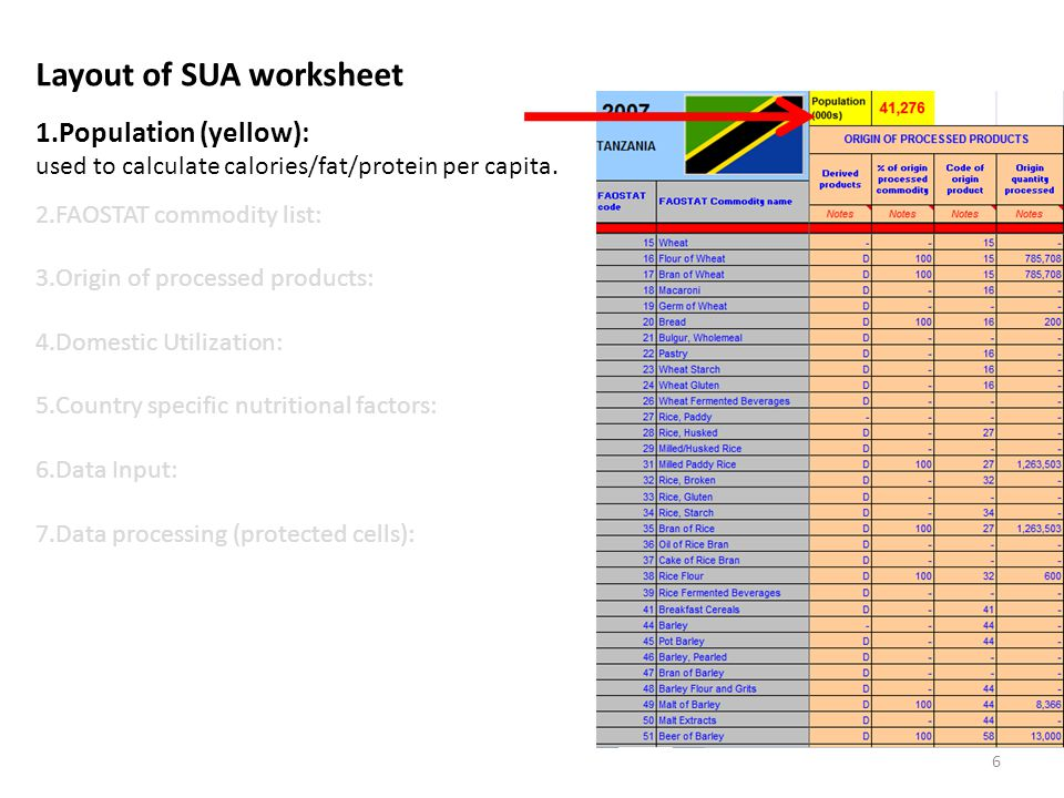 Layout of SUA worksheet 1.Population (yellow): used to calculate calories/fat/protein per capita.