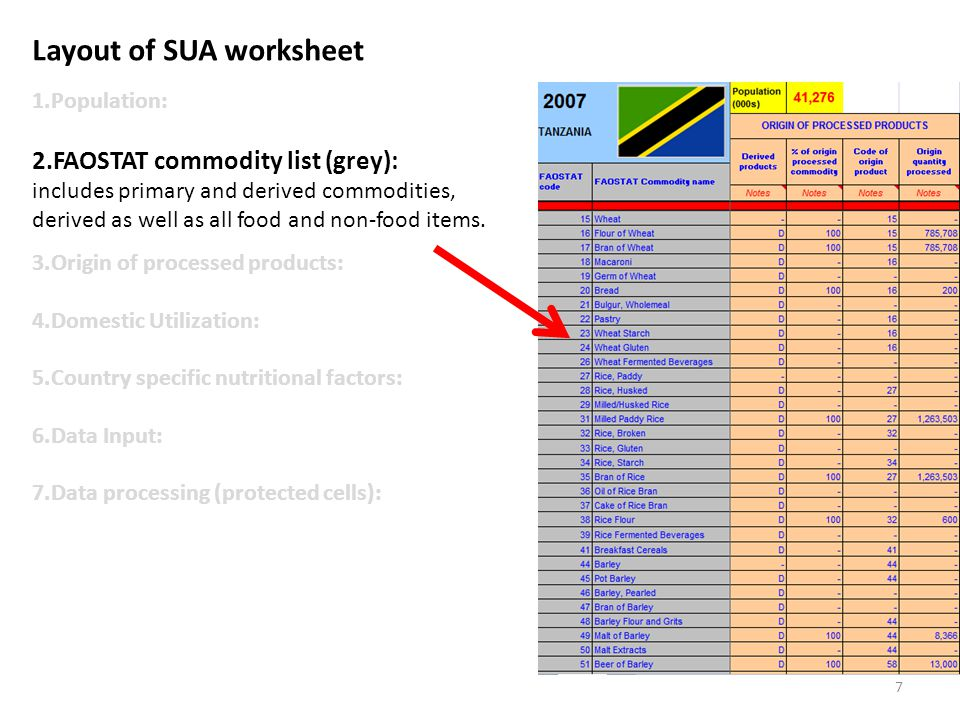 Layout of SUA worksheet 1.Population: 2.FAOSTAT commodity list (grey): includes primary and derived commodities, derived as well as all food and non-food items.