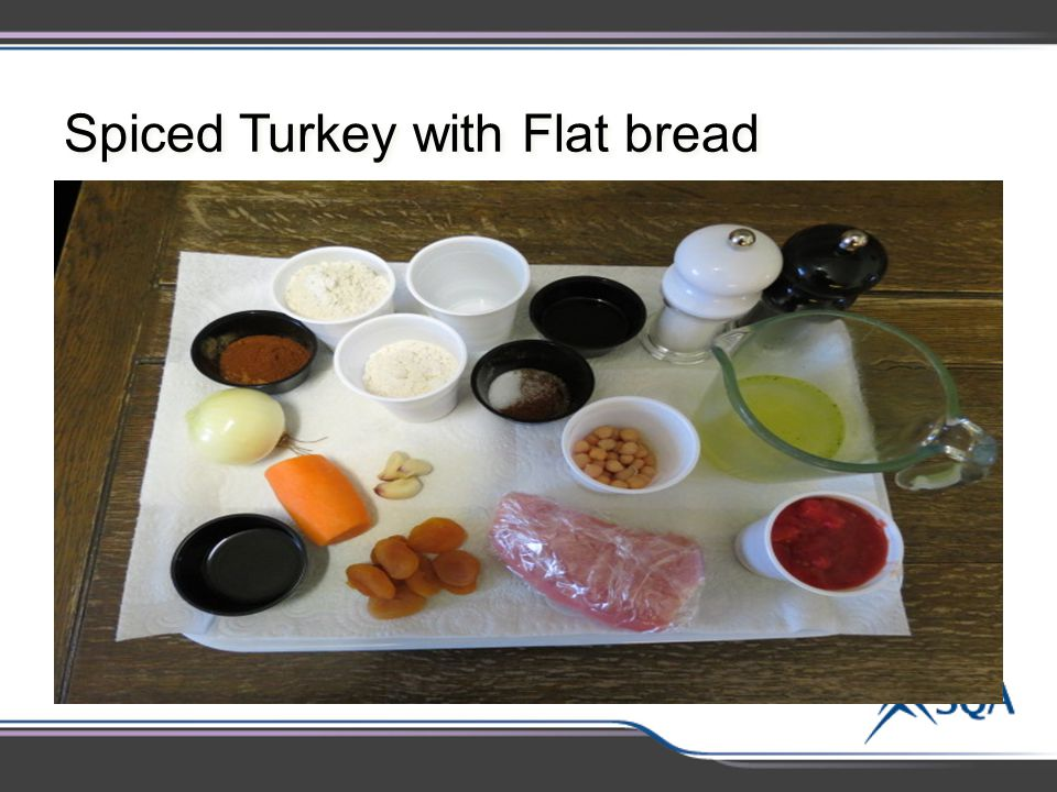 Spiced Turkey with Flat bread