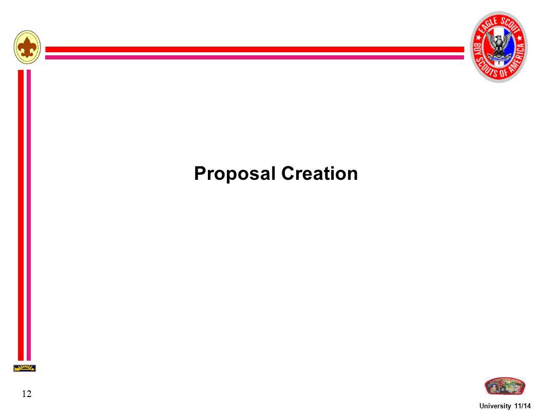 University 11/14 12 Proposal Creation