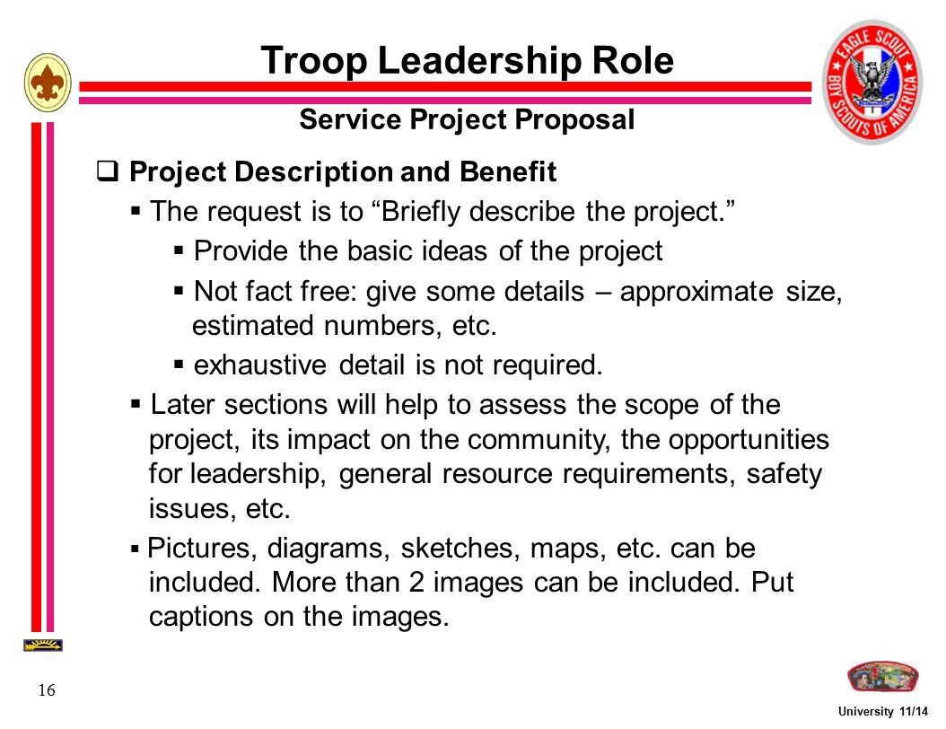 university eagle scout service project fundamentals ppt university 11 14 16 troop leadership role service project proposal 61553 project description and benefit
