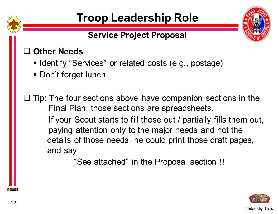 """University 11/14 22 Troop Leadership Role Service Project Proposal  Other Needs  Identify """"Services"""" or related costs (e.g., postage)  Don't forget"""