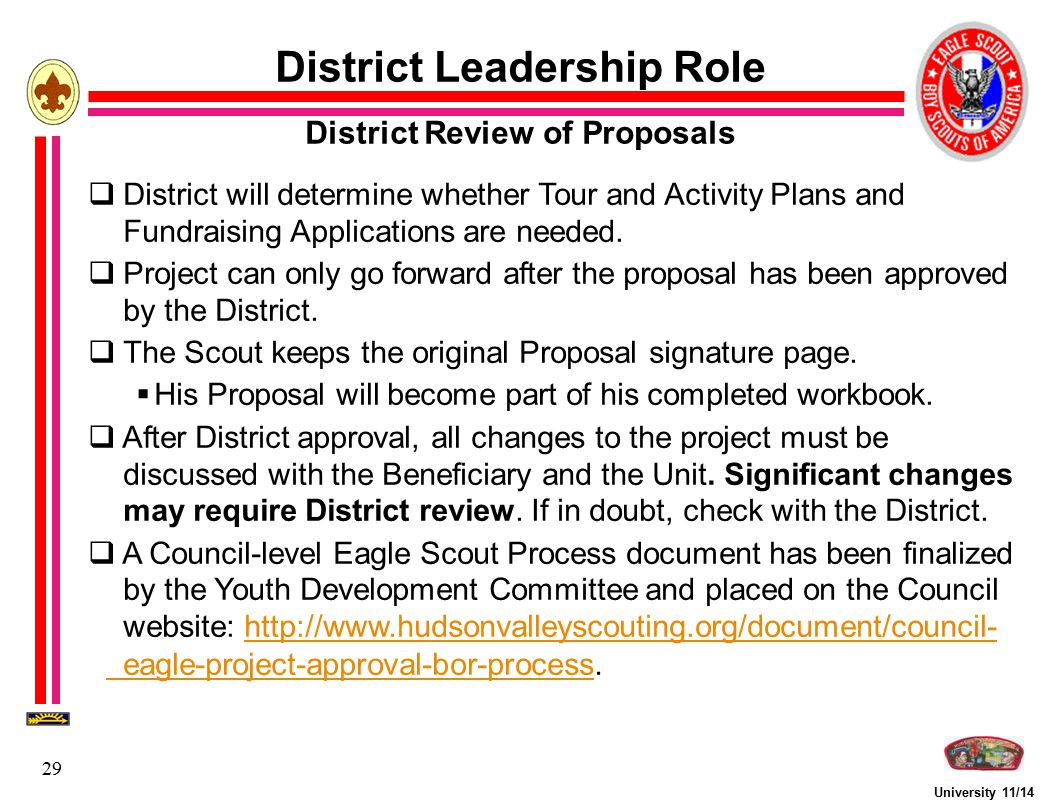 University 11/14 29 District Leadership Role District Review of Proposals  District will determine whether Tour and Activity Plans and Fundraising Ap