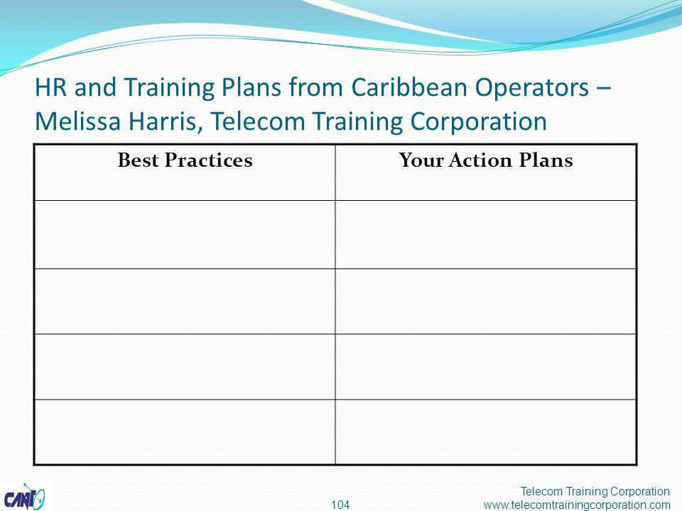 HR and Training Plans from Caribbean Operators – Melissa Harris, Telecom Training Corporation Telecom Training Corporation www.telecomtrainingcorporation.com104 Best PracticesYour Action Plans