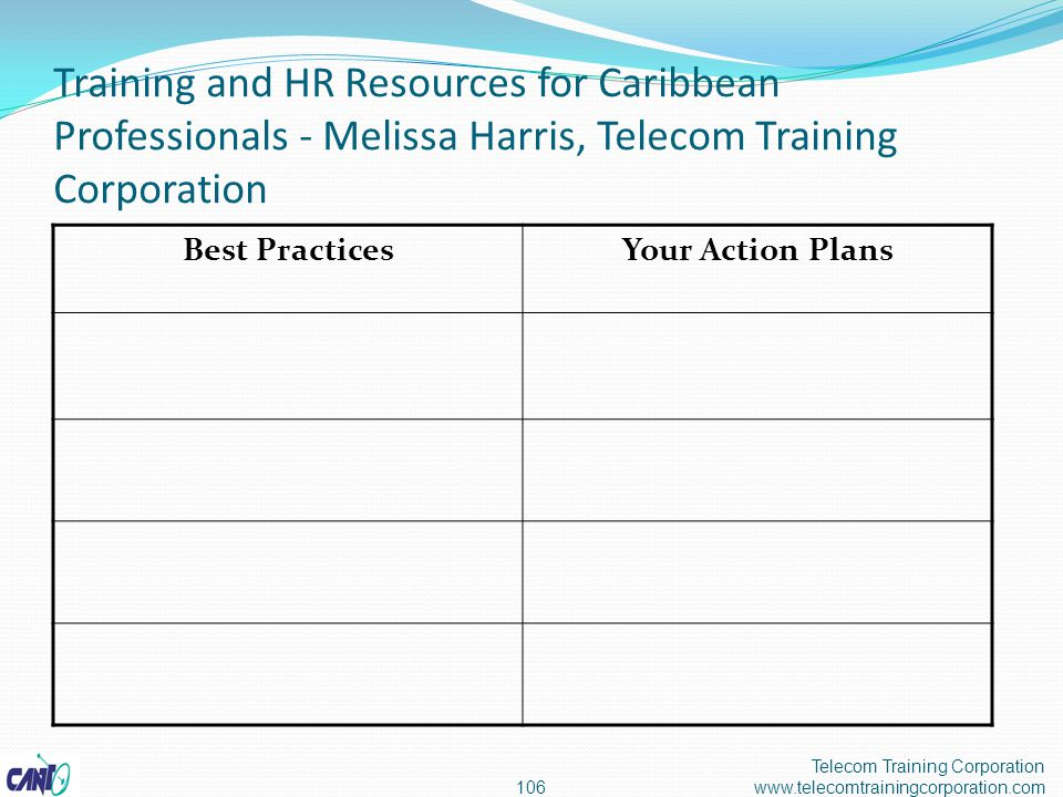 Training and HR Resources for Caribbean Professionals - Melissa Harris, Telecom Training Corporation Telecom Training Corporation www.telecomtrainingcorporation.com106 Best PracticesYour Action Plans