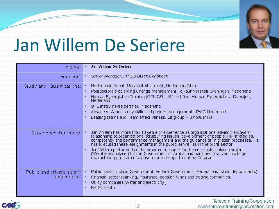 Jan Willem De Seriere Telecom Training Corporation www.telecomtrainingcorporation.com 12