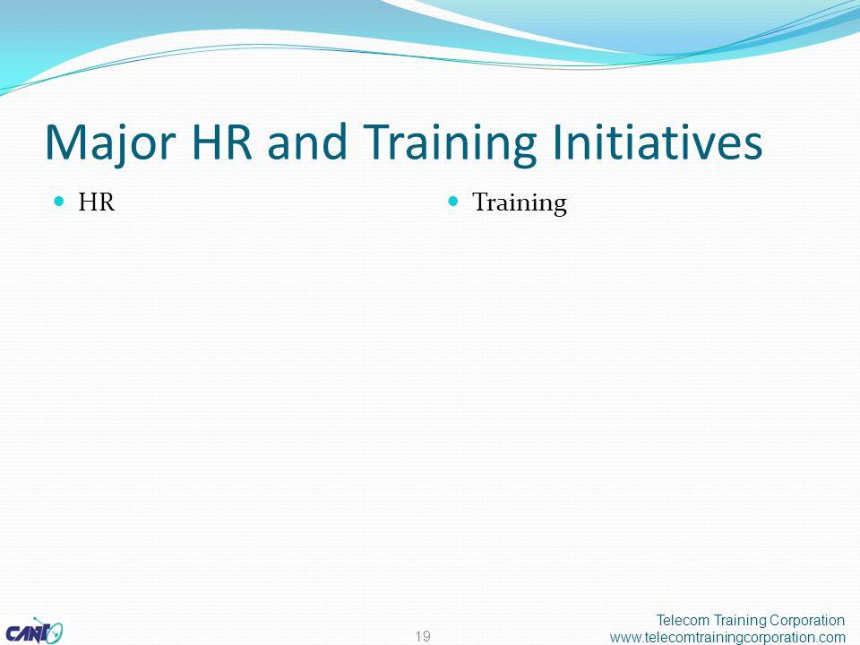 Major HR and Training Initiatives HR Training Telecom Training Corporation www.telecomtrainingcorporation.com 19