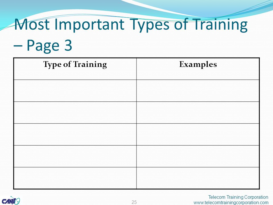 Most Important Types of Training – Page 3 Telecom Training Corporation www.telecomtrainingcorporation.com 25 Type of TrainingExamples