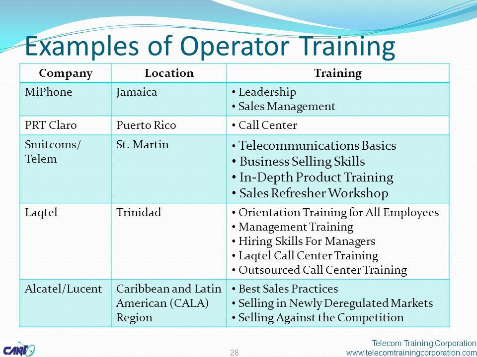 Examples of Operator Training CompanyLocationTraining MiPhoneJamaica Leadership Sales Management PRT ClaroPuerto Rico Call Center Smitcoms/ Telem St.