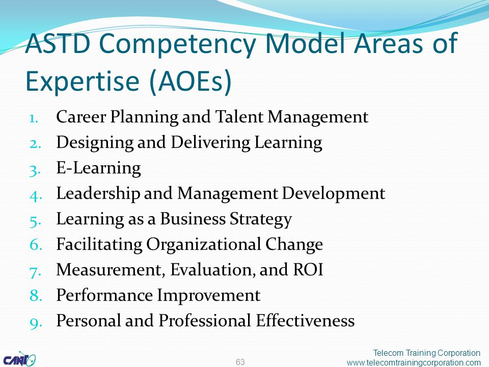 ASTD Competency Model Areas of Expertise (AOEs) 1.