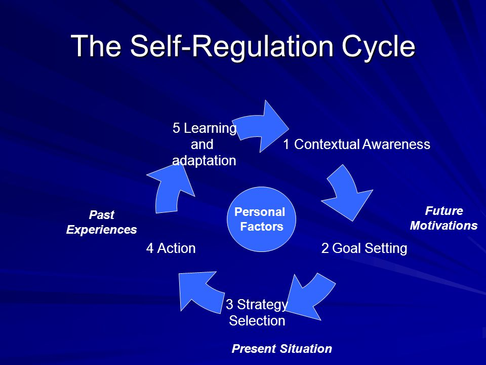 The Self-Regulation Cycle 1 Contextual Awareness 2 Goal Setting 3 Strategy Selection 4 Action 5 Learning and adaptation Personal Factors Past Experien